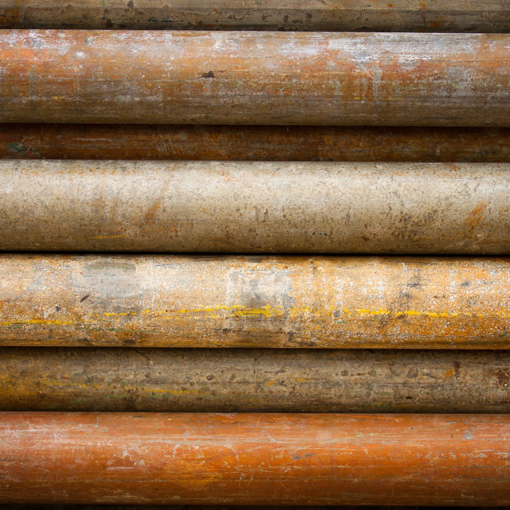 An assortment of rusty pipes.