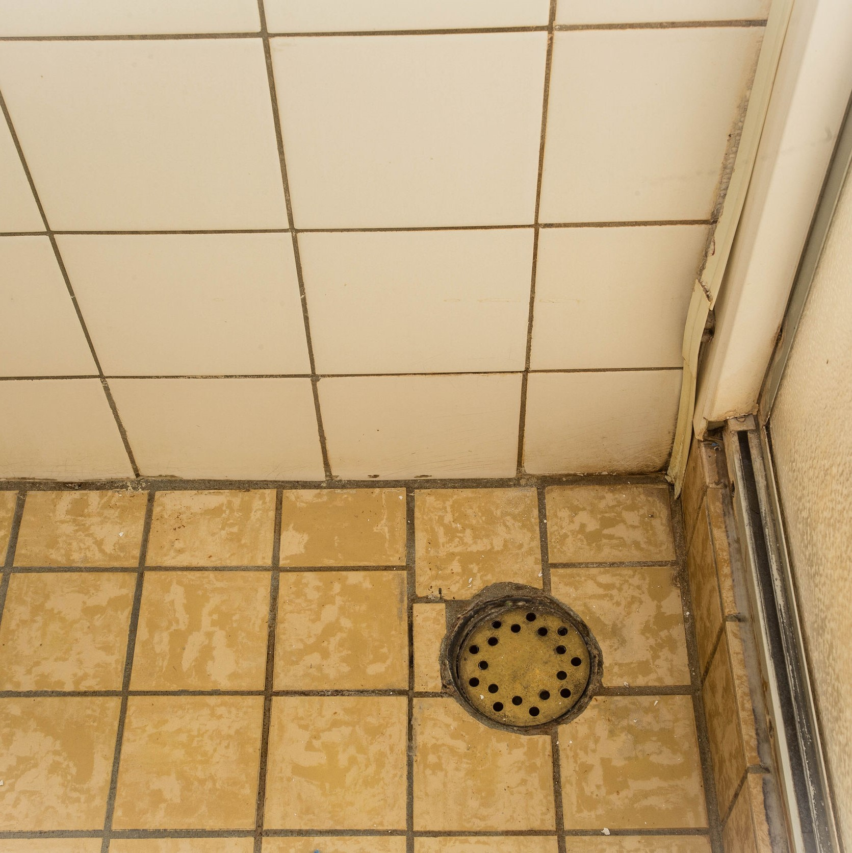 An old shower drain that needs some cleaning.