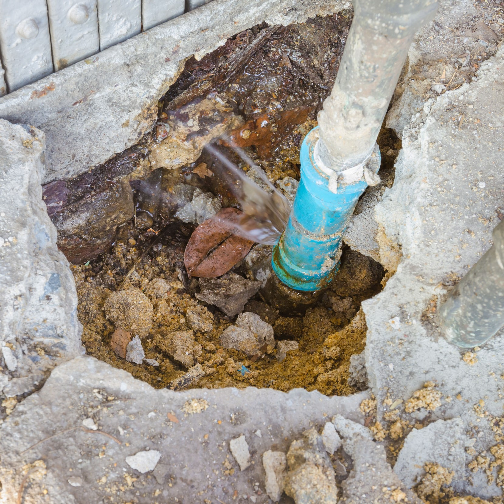 An underground water line that is damaged and needs repairs.